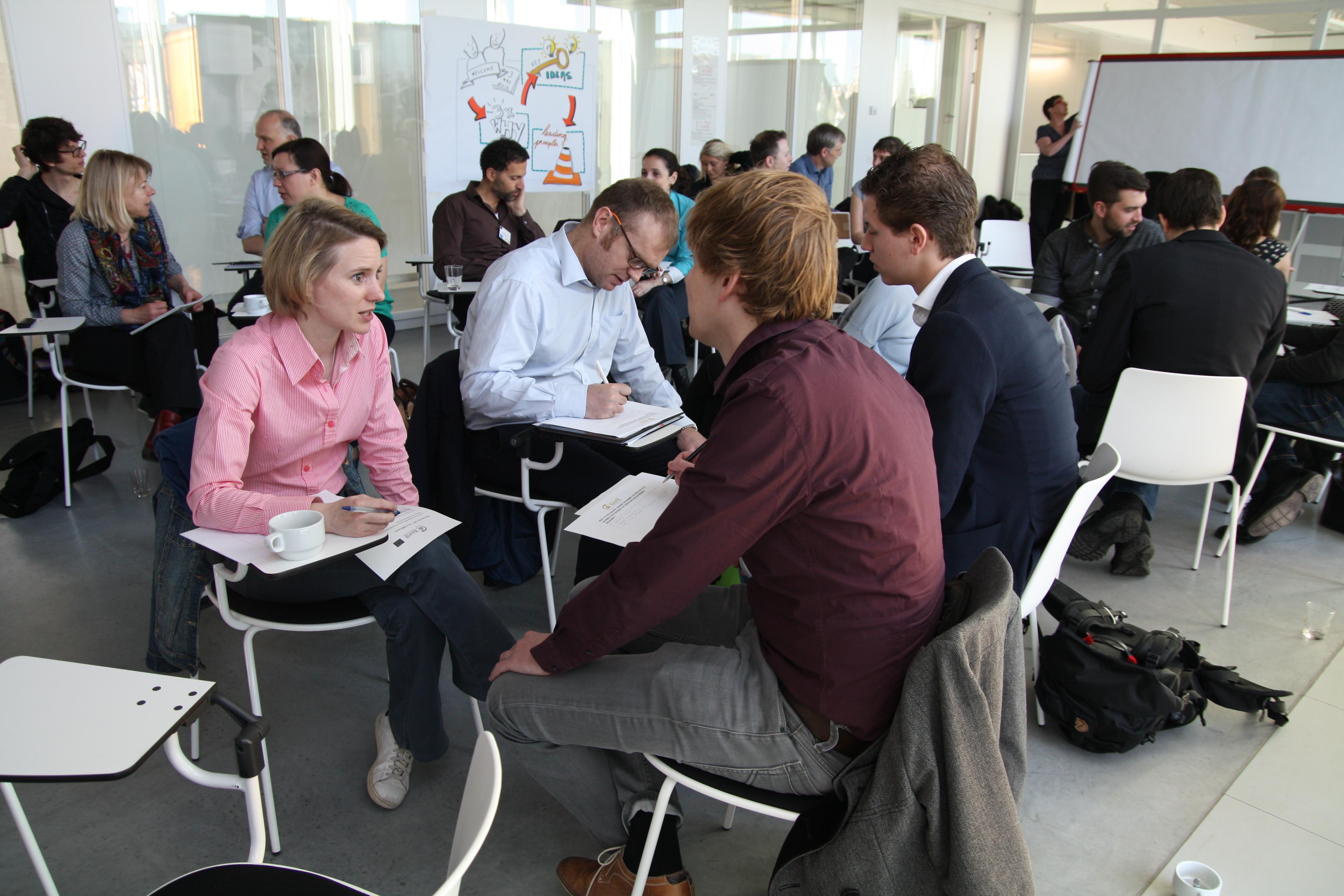 Workshop people siting talking